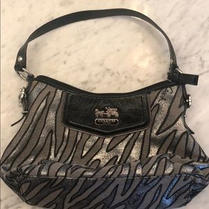 Coach zebra print purse with matching change purse